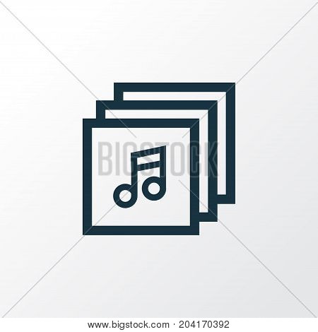 Premium Quality Isolated Music Element In Trendy Style.  Albums Outline Symbol.