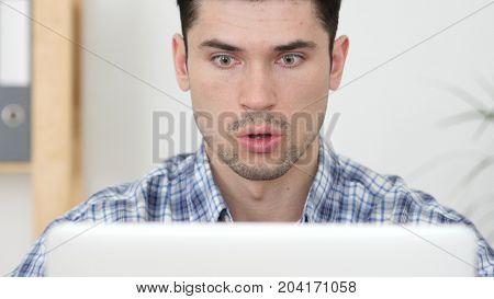 Gesture Of Shock, Surprised Casual Businessman At Work In Office