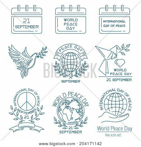 World Peace Day line icon set. Logo and emblem collection for International Day of Peace. September 21. Vector illustration