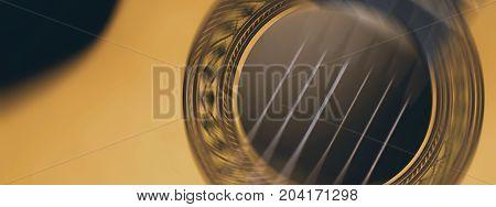 Acoustic Guitar Strings Motion Blur Music Black Background