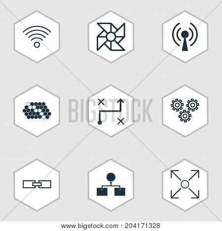 Machine Icons Set. Collection Of Wireless Communications, Branching Program, Mechanism Parts And Other Elements
