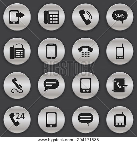 Set Of 16 Editable Gadget Icons. Includes Symbols Such As Smartphone, Comment, Office Telephone And More