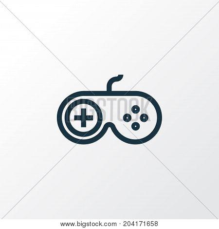Premium Quality Isolated Gamepad Element In Trendy Style.  Joystick Outline Symbol.