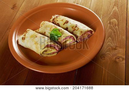 Rolled Pancakes Stuffed Ham And Cheese.