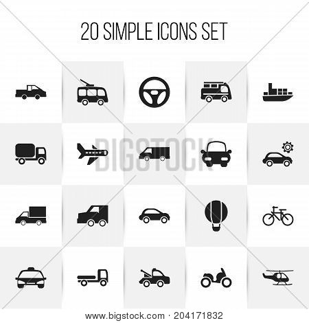 Set Of 20 Editable Transportation Icons. Includes Symbols Such As Lorry, Ship, Garage And More