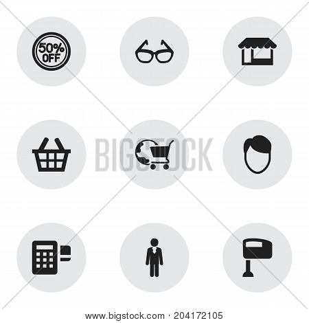 Set Of 9 Editable Shopping Icons. Includes Symbols Such As Hairstyle, Job Person, International Trade And More