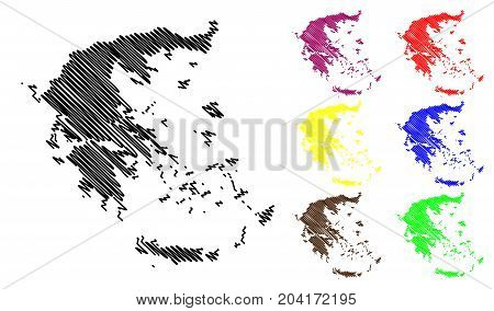 Greece map vector illustration , scribble sketch Greece map