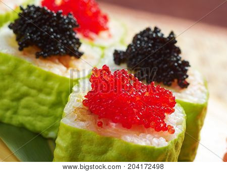 Roll Made Of Smoked Fish And  Roe