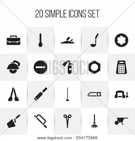 Set Of 20 Editable Instrument Icons. Includes Symbols Such As Internal Screw, Equipment, Handcart