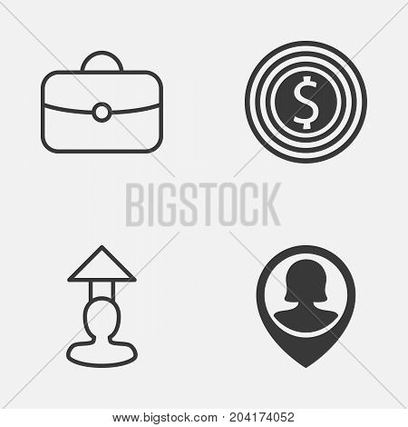 Management Icons Set. Collection Of Female Pin, Briefcase, Goal And Other Elements