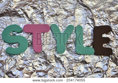 WORD STYLE ON A  ABSTRACT SILVER BACKGROUND