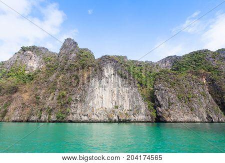 emerald sea and rock at Krabi , Thailand