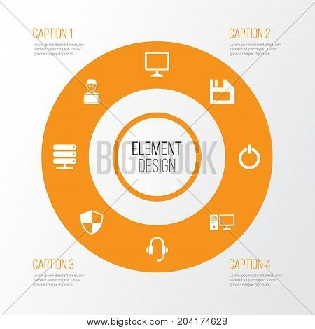 Gadget Icons Set. Collection Of Defense, Database, Desktop And Other Elements