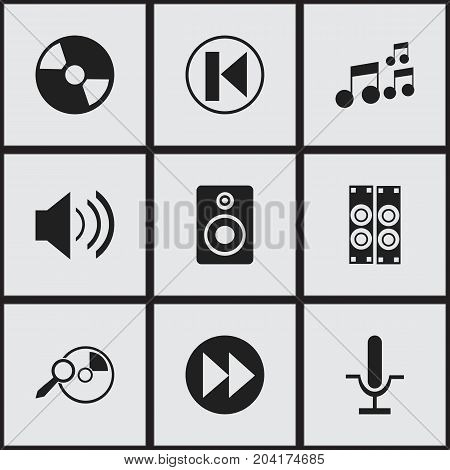 Set Of 9 Editable Mp3 Icons. Includes Symbols Such As Disc, Sound, Next And More
