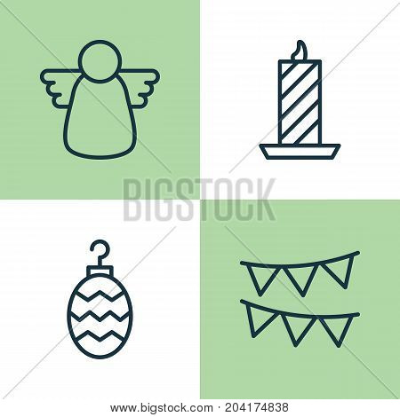Christmas Icons Set. Collection Of Fire Wax, Christmas Toy, Archangel And Other Elements