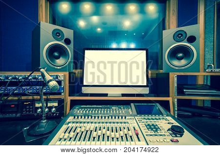 the musical studio, audio instrument and monitor screen, 3D illustration