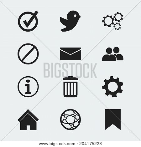 Set Of 12 Editable Web Icons. Includes Symbols Such As Deny, Mail, Home And More