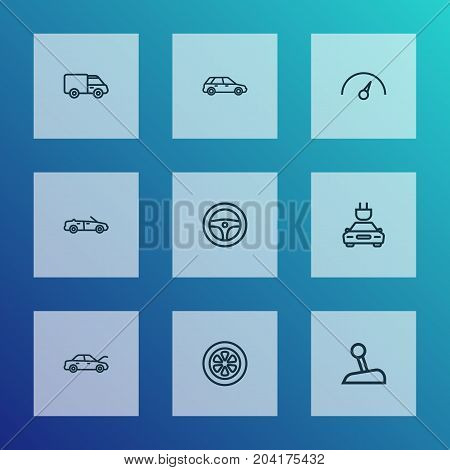 Automobile Outline Icons Set. Collection Of Stick, Rudder, Wheel And Other Elements