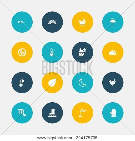 Set Of 16 Editable Air Icons. Includes Symbols Such As Drip, Moonlight, Thermometer And More