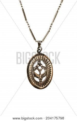 Vintage bronze medallion on a chain on white background