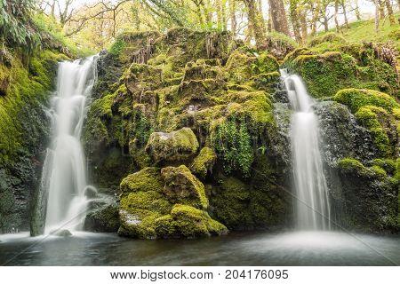 Twin waterfalls below Venford waterfall on Dartmoor, UK.