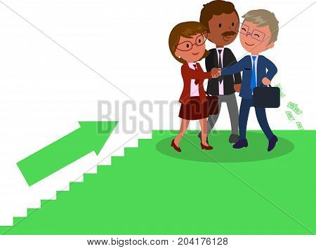 Group of success managers climbing a staircase vector illustration