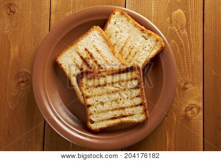 Pile  Toasted Bread