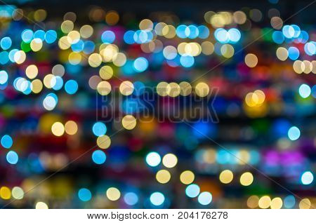 Blurred Photo bokeh of colorful at night