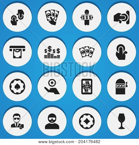 Set Of 16 Editable Game Icons. Includes Symbols Such As Agent, Wealthy Male, Thief And More
