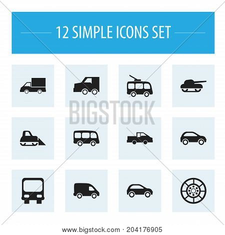 Set Of 12 Editable Transport Icons. Includes Symbols Such As Weapon, Autobus, Suv And More