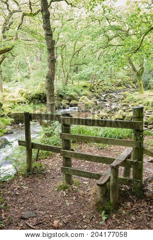 Stile by the river in Dartmoor National Park.