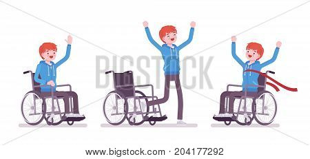 Disabled young man in wheelchair in positive emotions. Skills training program and rehabilitation. Disability and social policy. Vector flat style cartoon illustration, isolated, white background