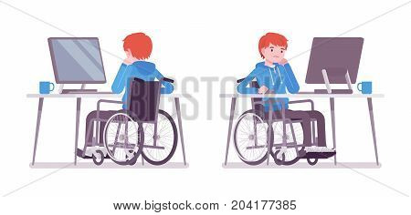 Disabled young man in wheelchair working with computer. Productive online job. Disability, social policy concept. Vector flat style cartoon illustration, isolated, white background. Front, rear view