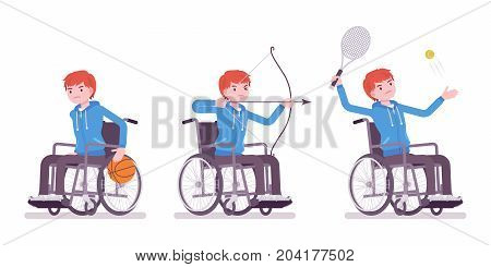 Disabled young man in wheelchair doing sport activity. Have fun and compete in tennis, archery. Disability and social policy concept. Vector flat style cartoon illustration, isolated, white background