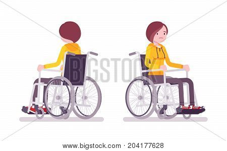Disabled young woman in wheelchair. Daily ignorance, problems, spinal cord injuries. Physical disability, society. Vector flat style cartoon illustration, isolated, white background. Front, rear view