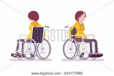 Disabled young woman in wheelchair riding. Daily problems and challenges. Physical disability and society. Vector flat style cartoon illustration, isolated, white background. Front, rear view
