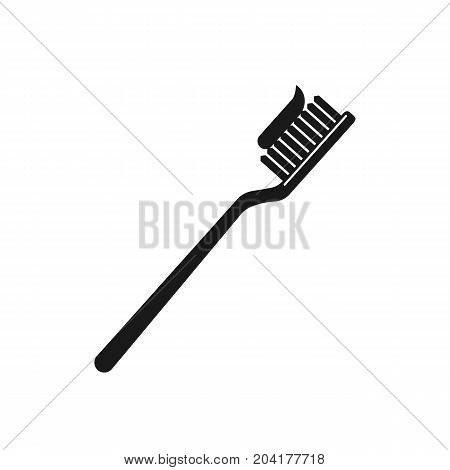 Toothbrush with toothpaste icon isolated on background. Vector stock.
