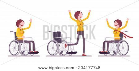 Disabled young woman in wheelchair in positive emotions. Training during initial rehabilitation. Physical disability and society. Vector flat style cartoon illustration, isolated, white background