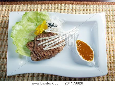 Grilled beef .Shallow depth-of-field. ,close up meal