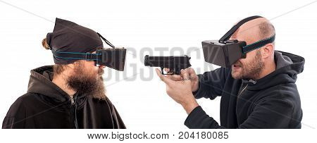 Two Young Man Play Shooter Game With Virtual Reality Glasses