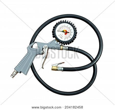 Air gun with pressure gauge and connection hose to pump tires on a white background