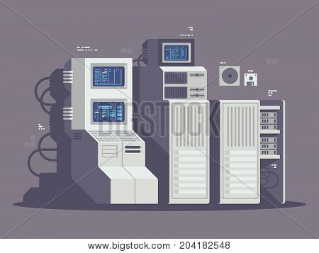 Super powerful computer. Cluster with large random access memory. Vector illustration