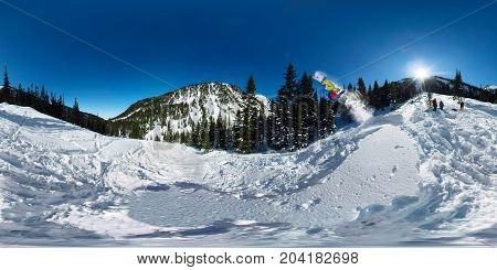 Snowboarder Freerider Jumping From Snow Ramp. Spherical 360 Vr180 Panorama