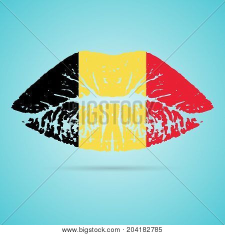 Belgium Flag Lipstick On The Lips Isolated On A White Background. Vector Illustration. Kiss Mark In Official Colors And Proportions. Independence Day