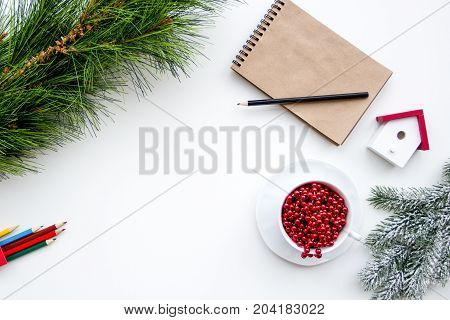 Plans for new year 2017 on white background top view