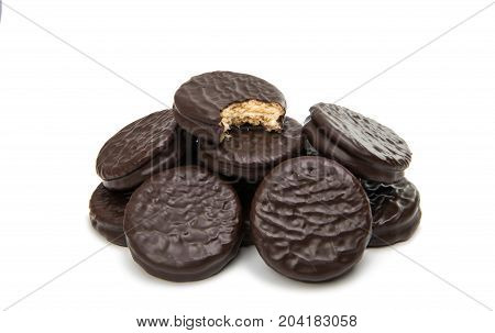 Double cookies in chocolate isolated on white background