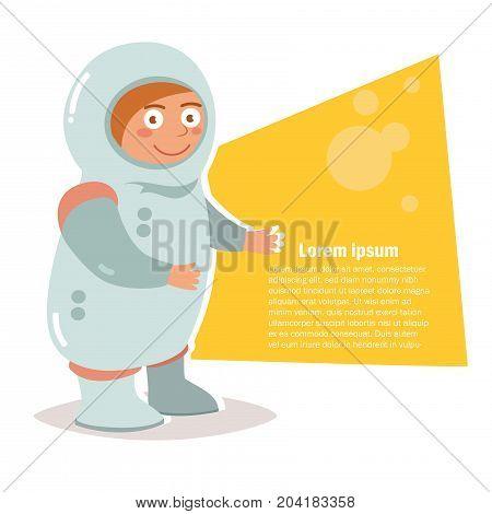 Child costume for Halloween. Vector. Cartoon. Isolated art on white background. Flat. Astronaut