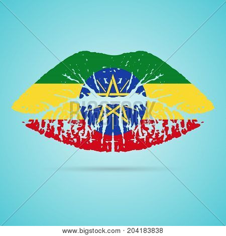 Ethiopia Flag Lipstick On The Lips Isolated On A White Background. Vector Illustration. Kiss Mark In Official Colors And Proportions. Independence Day