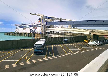 Dover, England - August 18 2017: A P&o Cross Channel Ferry Docked At Dock Number 8 Ready To Depart