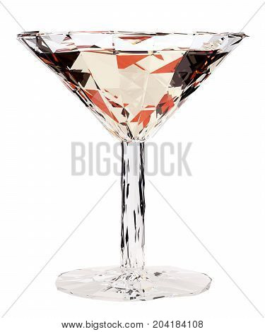 Low poly glass of vermouth or cocktail isolated on white background. 3d render